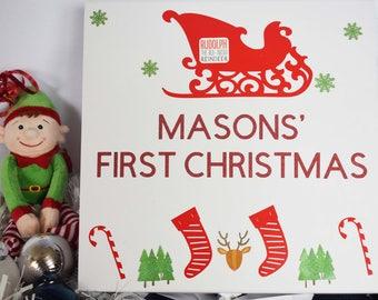 Personalised First Christmas Box, Xmas box, Christmas gift box, Santa Sleigh, Gift Box, Christmas Gifts, First Christmas