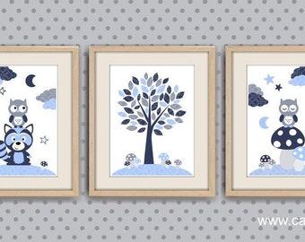 Poster baby boy room decor baby room bedroom kids illustration wall baby OWL blue gray raccoon REF. L8