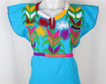 Maize-Embroidered Multicolor Mexican Huipil on 100% Cotton-Blue-BOHO-Hippie-Corn-Elote-Frida Kahlo-Latina-Blouse-Top-Folklorico-Milpas-Gypsy