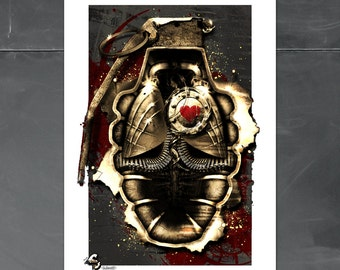 Military Poster, Propiganda, Fallout4, WWII, Army, Game Room, Cole Brenner, art print, birthday gift, war poster, video game, heart, for dad