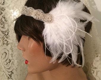 1920's headpiece flapper 1920's headband rhinestone headband GATSBY headpiece hair accessory bridal headband bridal accessory silver white