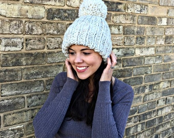 Hand Knit Hat Womens Chunky Cuffed Ribbed Pom Pom Beanie Hat - Wheat - MADE TO ORDER