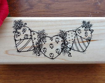 String of Hearts Rubber Stamp by DOTS, Hearts Garland, Quilted Hearts, P134