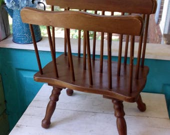 """Magazine Rack Vintage Mid Century Wooden Magazine rack on turned legs with 2 compartments and spindles 17 x 10 x 14"""""""