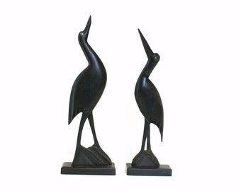 Pair of Carved Wooden Crane or Stork Bird Figurines (As Is)