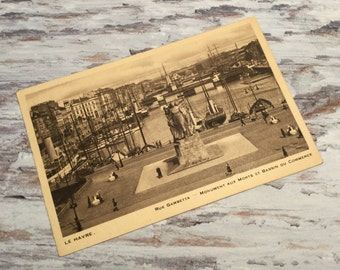 Le Havre, Rue Gambetta . French Vintage Postcard . Topographic Postcard France. Travel Postcards .