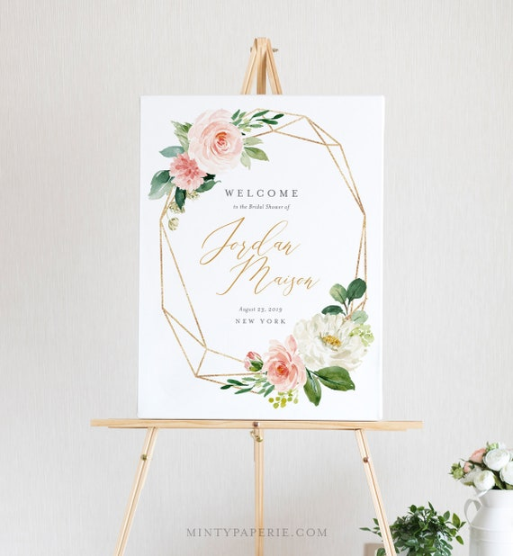 Welcome Sign Template, Bridal Shower, Instant Download, 100% Editable Text, Printable Wedding Poster Sign, Florals, US & UK Sizes #043-120LS