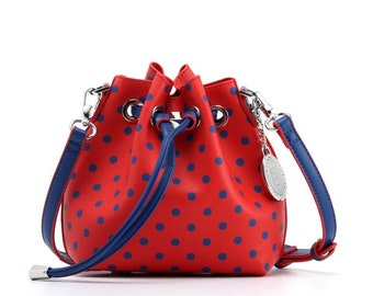 Sarah jean polka dot bucket handbag - racing red and navy blue