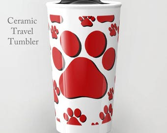 Tiger Paw Tumbler-Ceramic Travel Tumbler-Coffee Tumbler-School Mascot Gear-12 oz Travel Tumbler-School Spirit Gear-Insulated Travel Tumbler