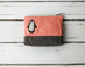 Linen quilted cosmetic bag