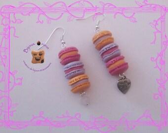 Purple macaron, berlingo in fimo earrings