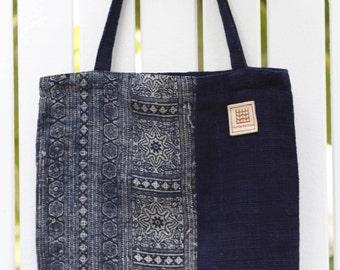 Hmonghemp & Natural indigo dyed handwoven cotton tote