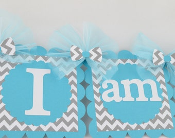 Chevron I am 1 Banner, Birthday Party, Chevron Theme, 1st Year Party, Highchair Banner, Light Grey and Teal