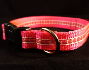 Hot Pink Med Adjustable Collar w Multicolored Pink Hearts, Hot Pink Dog Collars, Valentine Collar, Gifts for Dog Lovers, Custom Dog Gifts