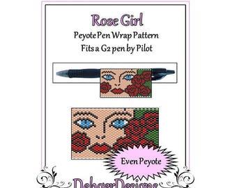 Peyote Beading Pattern (Pen Wrap/Cover)-Rose Girl