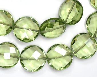 AAA 6 Inch 14mm Green Amethyst Quartz Faceted Coin Briolette Beads Strand 11 Beads(0484)