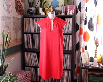 red 1970s vintage nightie by Gaymode . red nylon nightie with mandarin collar . above the knee tshirt nightgown