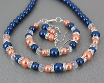 Bridesmaid Jewelry Bridesmaid Gift Navy and Coral Wedding Navy Necklace Coral Bracelet Wedding Jewelry Set for Bridesmaid Bridal Party Gift