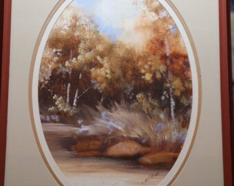 Large Liz Mcmahon Oil and water color Oval matted Forest Scene