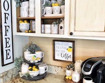 When Life Gives You Lemons Sign, Trade Lemons For Coffee, Farmhouse  Inspired Kitchen Sign