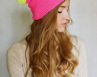 Neon Hat Massive Pink Pom Pom hat Fluorescent Hot