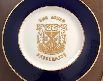Vintage Jackson China - Bob Jones University plate with Crest and gold trim