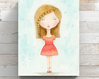 Girl with Freckles Watercolor Canvas Print - Canvas Art - Girl Bedroom Decor - Original Art by Angela Weber