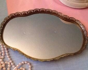 Vintage Mirrored Tray/ Dresser Mirrir Tray/ Oval Mirror Gold Filigree Mirror Tray
