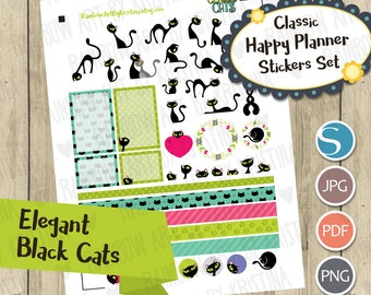 Happy Planner Classic Black Cats Sticker Set/Printable planner stickers/Silhouette Cut File/Transparent Digital Planner Stickers