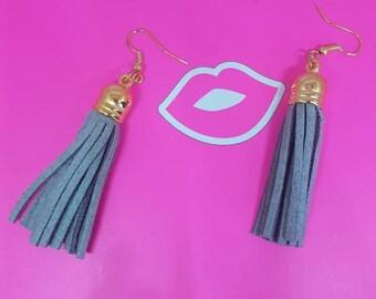Grey suede tassel earrings