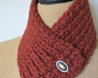Hand Knitted Buttoned Neck Warmer in Rust Item# KNW21604 ***FREE SHIPPING***
