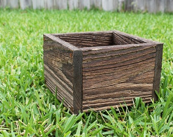 "Square Farm Planters Box 4, 5"", 6"" and 8""L (3.25"" - 3.75""H - Tall), Centerpiece, Herb Box, Primitive Box, Garden, Storage, Succulent"