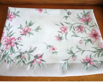 Vintage Printed Kitchen Tablecloth Pink Gray Floral 46 x 52 Lovely!