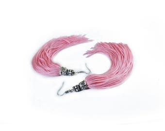 Pink Tassel Earrings, long tassel pink earrings, silver tone hooks, statement tassel earrings, hippie earrings