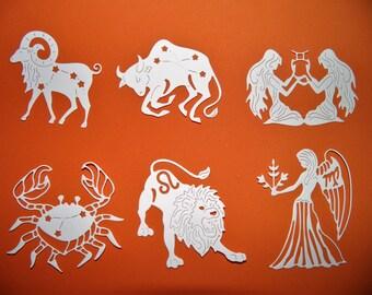 Cut paper ,Capricorn ,  Aquarius ,  Pisces, Aries ,Taurus ,  Gemini ,  Cancer , Leo , Virgo ,Libra ,Scorpio ,Sagittarius, Cut paper