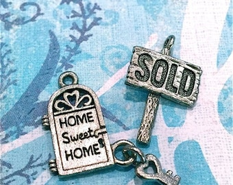 Sold Sign and Home Sweet Home - 4 pieces-(Antique Pewter Silver Finish)