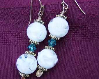 White & Teal Earrings - Handmade, Gold, Swarovski Teal Crystal and White with Clear Earrings in Gold  by JewelryArtistry - E629