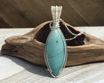 Aqua and silver wire wrapped pendant