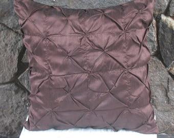 chocolate brown  pillow. brown throw pillow 18 inch silk pintuck cushion cover custom made.