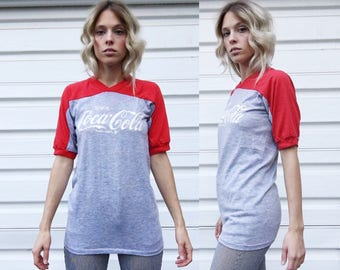 Vintage 70s Artex Red + Heather Gray Coca Cola Classic Two Tone Ringer Tee T-Shirt S/M