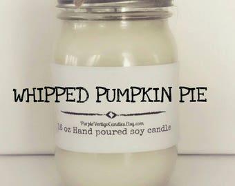Whipped Pumpkin Pie, 16 oz soy Candle, Pumpkin Pie, Pumpkin Candle, Fall Scent, Pumpkin Pie Candle, Whipped Pumpkin Pie Candle, Vegan, Fall
