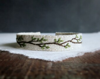 Rustic Woodland Bracelet - Embroidered Rustic Branch on Natural Linen Cuff Bracelet