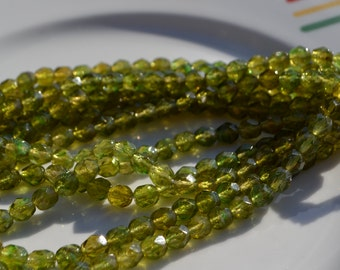 Olove Green with Hints of Gold 6mm Faceted Fire Polish Beads  25
