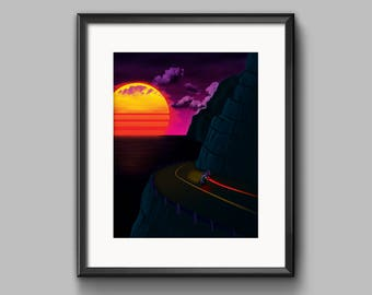 Pacific Highway Art Print - synthwave, vaporwave, outrun, 80s, retro, ocean, landscape, neon, sunset, california