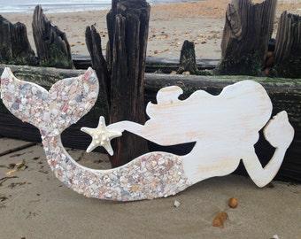 Wood Mermaid, Mermaid Art, Mermaids, Mermaid shell art, Coastal mermaid art, Mermaid wall decor, Mermaid