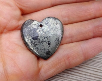 Pyrite Heart pendant bead cabochon 28x30mm natural stone heart gems jewelry making