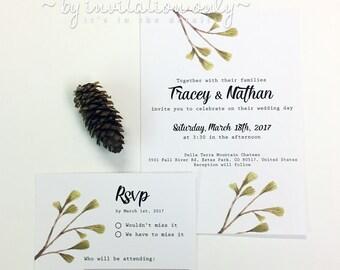 Pine Tree Branches Wedding Stationery Suite, branches, pine cones, pine trees, wedding invitations, clean invitation design