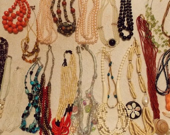 Vintage lot multi strand necklaces choker/short with solid beading, some beads, pendant beaded variety