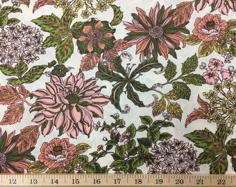 Large Floral Fabric By The Yard or Half Yard Olive Green Salmon Pink Peach Ivory Flowers 100% Cotton Quilting Apparel Fabric a3/16