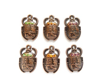 6 Antique Copper Scarab Charms With Rhinestones - 20-33-2